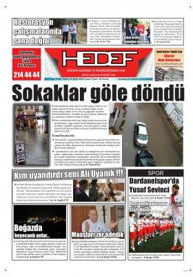 Çanakkale Hedef Gazetesi - 14.09.2018 Manşeti