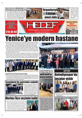 Çanakkale Hedef Gazetesi - 21.09.2018 Manşeti