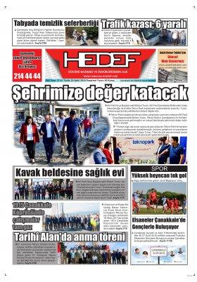 Çanakkale Hedef Gazetesi - 24.09.2018 Manşeti