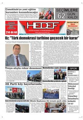 Çanakkale Hedef Gazetesi - 23.04.2018 Manşeti