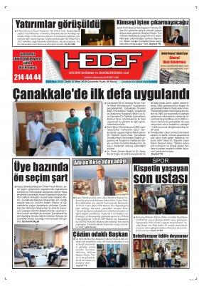 Çanakkale Hedef Gazetesi - 17.10.2018 Manşeti