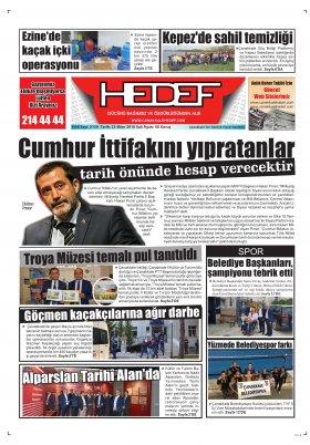 Çanakkale Hedef Gazetesi - 23.10.2018 Manşeti