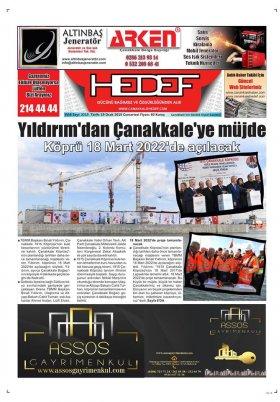 Çanakkale Hedef Gazetesi - 19.01.2019 Manşeti