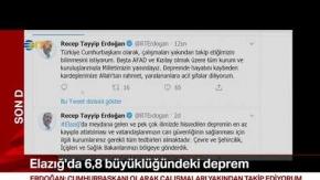 Recep Tayyip Erdoğan, Elazığ depremi sonrası açıklamada bulundu